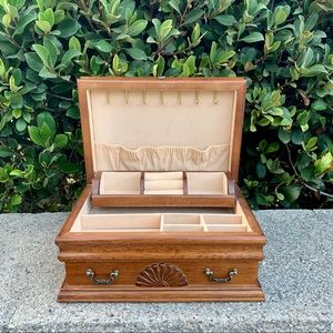 Vintage Wooden Jewelery Box Storage Organizer